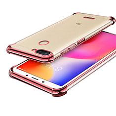 Custodia Silicone Trasparente Ultra Sottile Cover Morbida H01 per Xiaomi Redmi 6 Oro Rosa