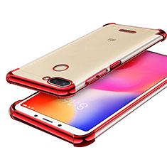 Custodia Silicone Trasparente Ultra Sottile Cover Morbida H01 per Xiaomi Redmi 6 Rosso