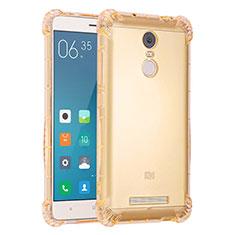 Custodia Silicone Trasparente Ultra Sottile Cover Morbida H01 per Xiaomi Redmi Note 3 Pro Oro
