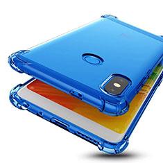 Custodia Silicone Trasparente Ultra Sottile Cover Morbida H01 per Xiaomi Redmi Note 5 Pro Blu