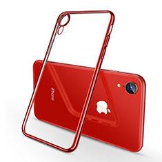 Custodia Silicone Trasparente Ultra Sottile Cover Morbida H02 per Apple iPhone XR Rosso