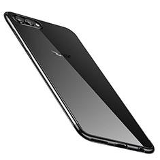 Custodia Silicone Trasparente Ultra Sottile Cover Morbida H02 per Huawei Honor V10 Nero