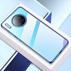 Custodia Silicone Trasparente Ultra Sottile Cover Morbida H02 per Huawei Mate 30 5G Blu
