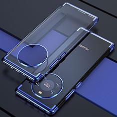 Custodia Silicone Trasparente Ultra Sottile Cover Morbida H02 per Huawei Mate 40 Blu