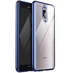 Custodia Silicone Trasparente Ultra Sottile Cover Morbida H02 per Huawei Mate 9 Pro Blu