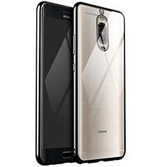 Custodia Silicone Trasparente Ultra Sottile Cover Morbida H02 per Huawei Mate 9 Pro Nero