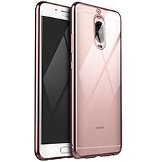 Custodia Silicone Trasparente Ultra Sottile Cover Morbida H02 per Huawei Mate 9 Pro Oro Rosa