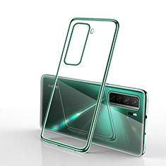 Custodia Silicone Trasparente Ultra Sottile Cover Morbida H02 per Huawei P40 Lite 5G Verde