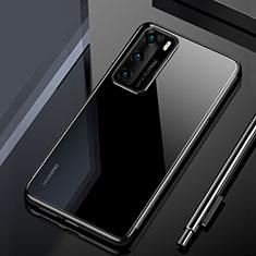 Custodia Silicone Trasparente Ultra Sottile Cover Morbida H02 per Huawei P40 Nero