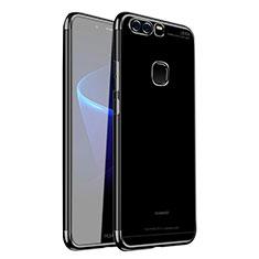 Custodia Silicone Trasparente Ultra Sottile Cover Morbida H02 per Huawei P9 Nero