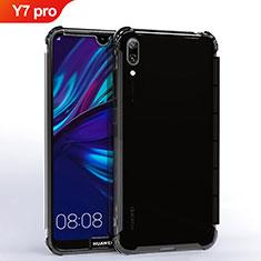 Custodia Silicone Trasparente Ultra Sottile Cover Morbida H02 per Huawei Y7 (2019) Nero