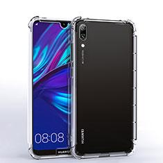 Custodia Silicone Trasparente Ultra Sottile Cover Morbida H02 per Huawei Y7 Prime (2019) Chiaro