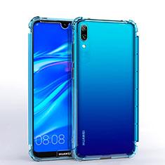 Custodia Silicone Trasparente Ultra Sottile Cover Morbida H02 per Huawei Y7 Prime (2019) Cielo Blu