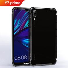 Custodia Silicone Trasparente Ultra Sottile Cover Morbida H02 per Huawei Y7 Prime (2019) Nero