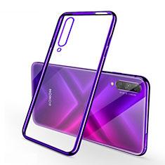 Custodia Silicone Trasparente Ultra Sottile Cover Morbida H02 per Huawei Y9s Viola