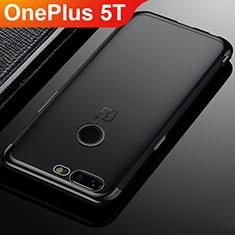Custodia Silicone Trasparente Ultra Sottile Cover Morbida H02 per OnePlus 5T A5010 Nero
