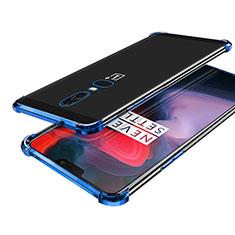 Custodia Silicone Trasparente Ultra Sottile Cover Morbida H02 per OnePlus 6 Blu