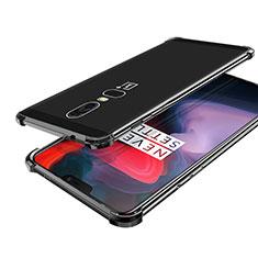 Custodia Silicone Trasparente Ultra Sottile Cover Morbida H02 per OnePlus 6 Nero