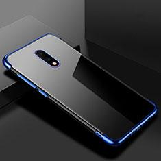 Custodia Silicone Trasparente Ultra Sottile Cover Morbida H02 per OnePlus 7 Blu