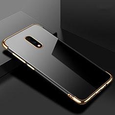Custodia Silicone Trasparente Ultra Sottile Cover Morbida H02 per OnePlus 7 Oro