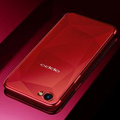 Custodia Silicone Trasparente Ultra Sottile Cover Morbida H02 per Oppo A3 Rosso