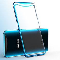 Custodia Silicone Trasparente Ultra Sottile Cover Morbida H02 per Oppo Find X Blu