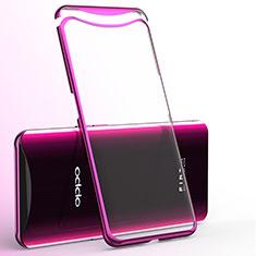 Custodia Silicone Trasparente Ultra Sottile Cover Morbida H02 per Oppo Find X Rosa Caldo