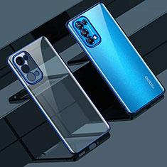 Custodia Silicone Trasparente Ultra Sottile Cover Morbida H02 per Oppo Reno5 5G Blu