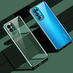 Custodia Silicone Trasparente Ultra Sottile Cover Morbida H02 per Oppo Reno5 Pro 5G Verde