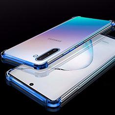Custodia Silicone Trasparente Ultra Sottile Cover Morbida H02 per Samsung Galaxy Note 10 Blu