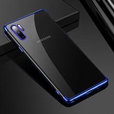 Custodia Silicone Trasparente Ultra Sottile Cover Morbida H02 per Samsung Galaxy Note 10 Plus Blu