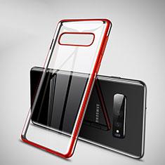 Custodia Silicone Trasparente Ultra Sottile Cover Morbida H02 per Samsung Galaxy S10 Plus Rosso
