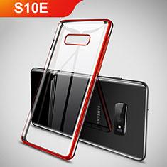 Custodia Silicone Trasparente Ultra Sottile Cover Morbida H02 per Samsung Galaxy S10e Rosso