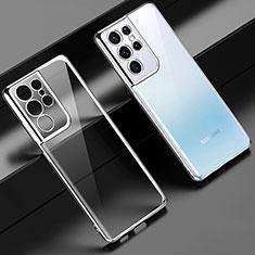 Custodia Silicone Trasparente Ultra Sottile Cover Morbida H02 per Samsung Galaxy S21 Ultra 5G Argento