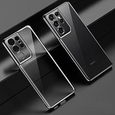 Custodia Silicone Trasparente Ultra Sottile Cover Morbida H02 per Samsung Galaxy S21 Ultra 5G Nero