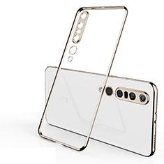 Custodia Silicone Trasparente Ultra Sottile Cover Morbida H02 per Xiaomi Mi 10 Pro Oro