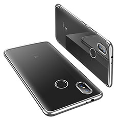 Custodia Silicone Trasparente Ultra Sottile Cover Morbida H02 per Xiaomi Mi 6X Argento
