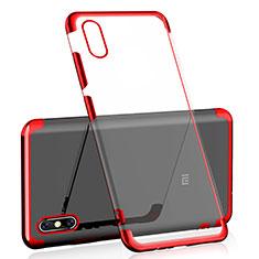 Custodia Silicone Trasparente Ultra Sottile Cover Morbida H02 per Xiaomi Mi 8 Screen Fingerprint Edition Rosso