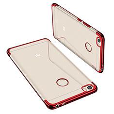 Custodia Silicone Trasparente Ultra Sottile Cover Morbida H02 per Xiaomi Mi Max Rosso