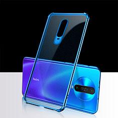 Custodia Silicone Trasparente Ultra Sottile Cover Morbida H02 per Xiaomi Poco X2 Blu