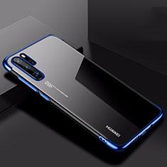Custodia Silicone Trasparente Ultra Sottile Cover Morbida H03 per Huawei P30 Pro Blu
