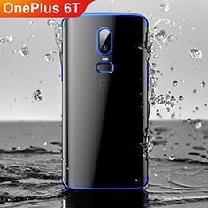 Custodia Silicone Trasparente Ultra Sottile Cover Morbida H03 per OnePlus 6T Blu