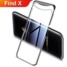 Custodia Silicone Trasparente Ultra Sottile Cover Morbida H03 per Oppo Find X Nero