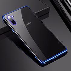 Custodia Silicone Trasparente Ultra Sottile Cover Morbida H03 per Samsung Galaxy Note 10 Blu