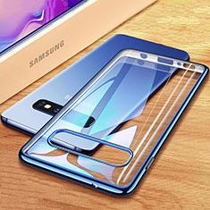 Custodia Silicone Trasparente Ultra Sottile Cover Morbida H03 per Samsung Galaxy S10 Blu