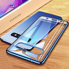 Custodia Silicone Trasparente Ultra Sottile Cover Morbida H03 per Samsung Galaxy S10 Plus Blu