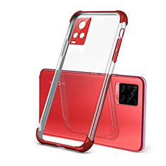 Custodia Silicone Trasparente Ultra Sottile Cover Morbida H03 per Vivo V20 Pro 5G Rosso