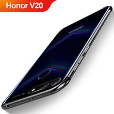 Custodia Silicone Trasparente Ultra Sottile Cover Morbida H04 per Huawei Honor View 20 Nero