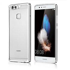 Custodia Silicone Trasparente Ultra Sottile Cover Morbida H04 per Huawei P9 Plus Argento