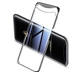 Custodia Silicone Trasparente Ultra Sottile Cover Morbida H04 per Oppo Find X Super Flash Edition Nero